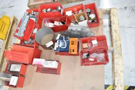 LOT/ PALLET WITH CONTENTS CONSISTING OF GAUGES, PULL DOWEL PINS, AND EXTRUDER LINE COMPONENTS