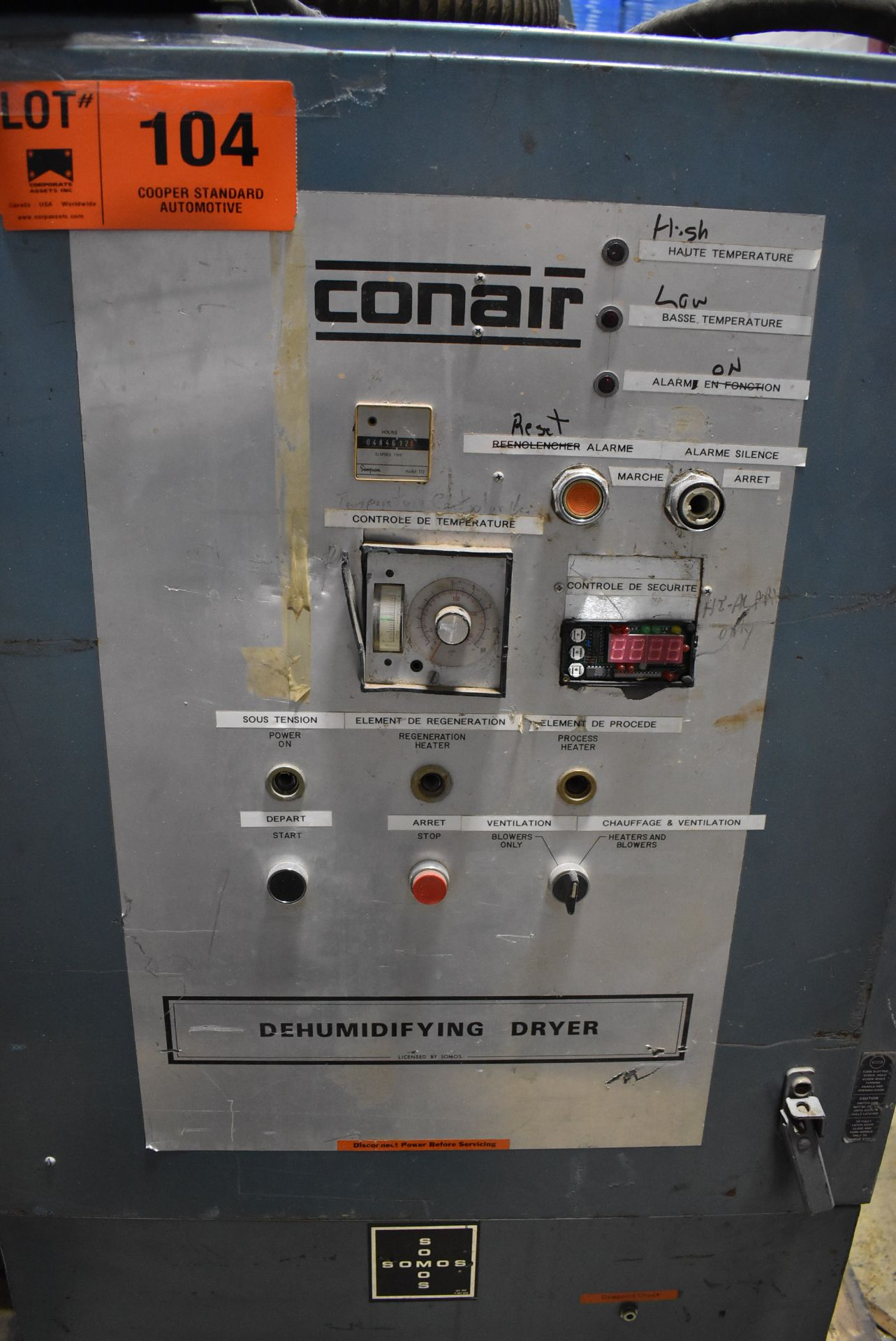CONAIR D600H831 DEHUMIDIFYING DRYER, S/N: 4D1872 (LOCATED IN BRAMPTON, ON) [RIGGING FEES FOR LOT # - Image 2 of 4