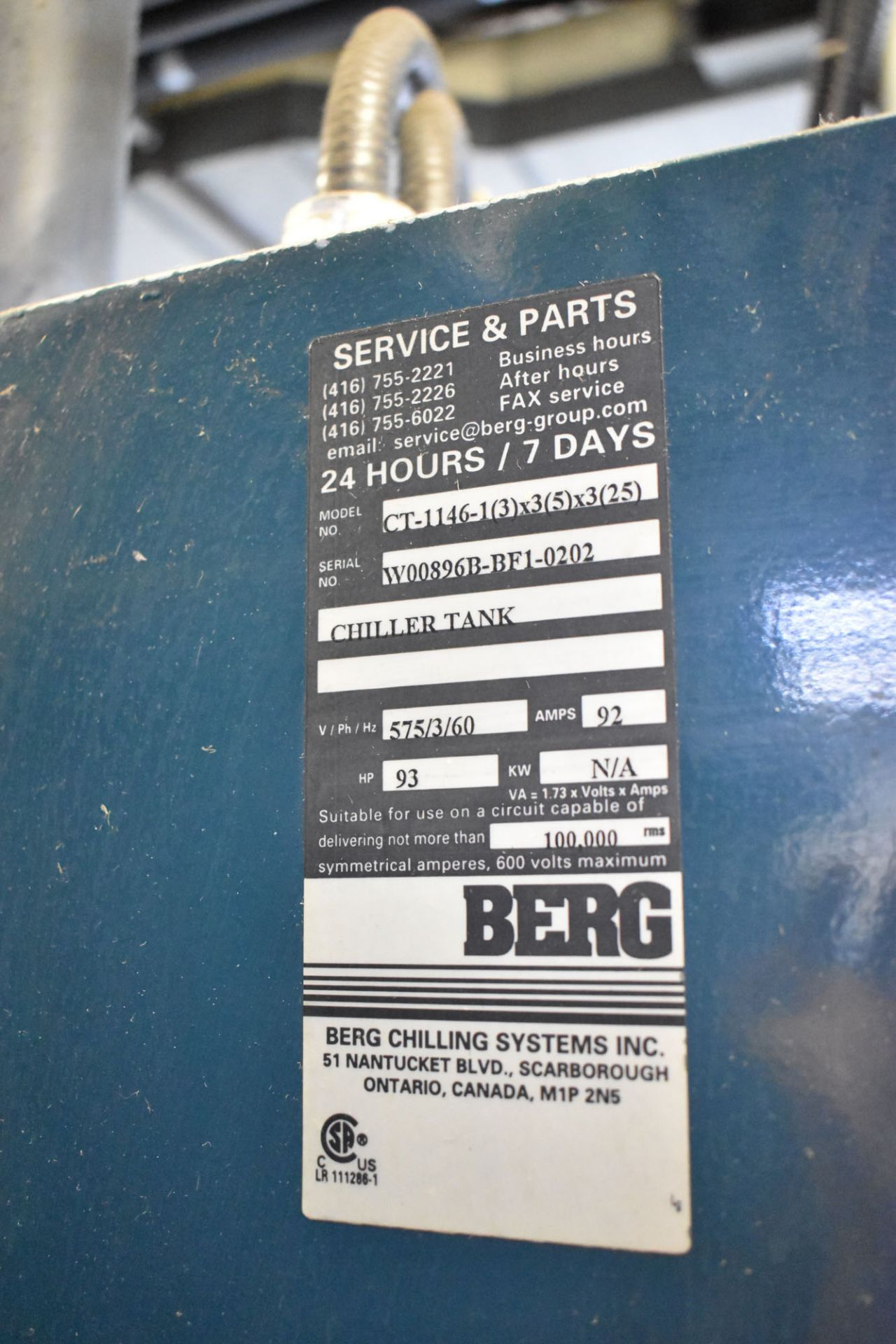 """BERG CT-1146 SKID MOUNTED CHILLER PUMP SET WITH 93 HP, 132""""X48""""X76""""H TANK, BERG 20 HP AUXILIARY - Image 5 of 6"""