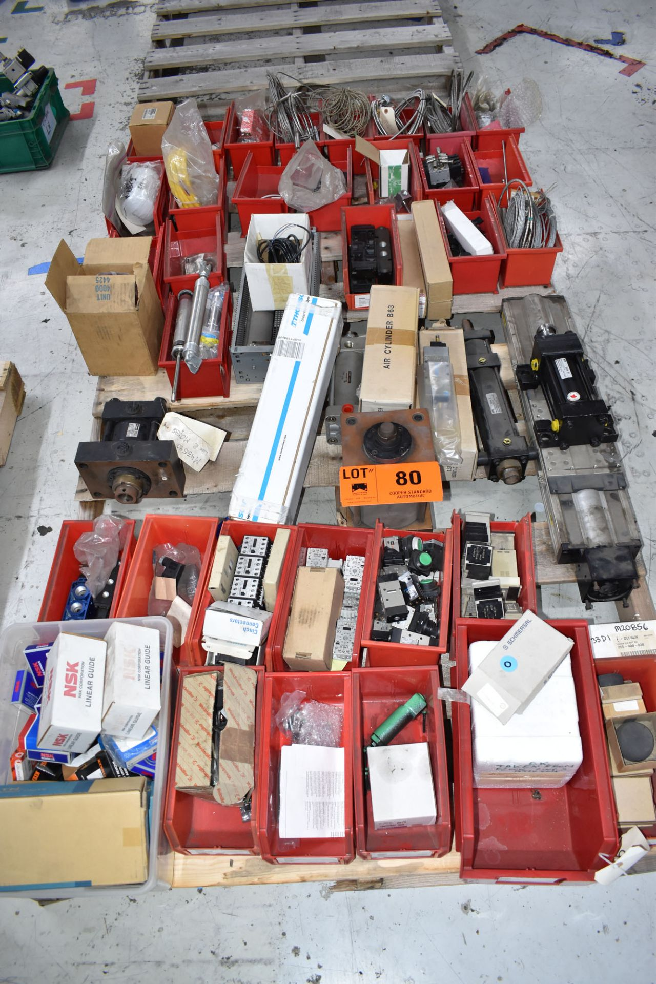 LOT/ PALLET WITH CONTENTS CONSISTING OF BEARINGS, CYLINDERS, AND EXTRUDER LINE COMPONENTS