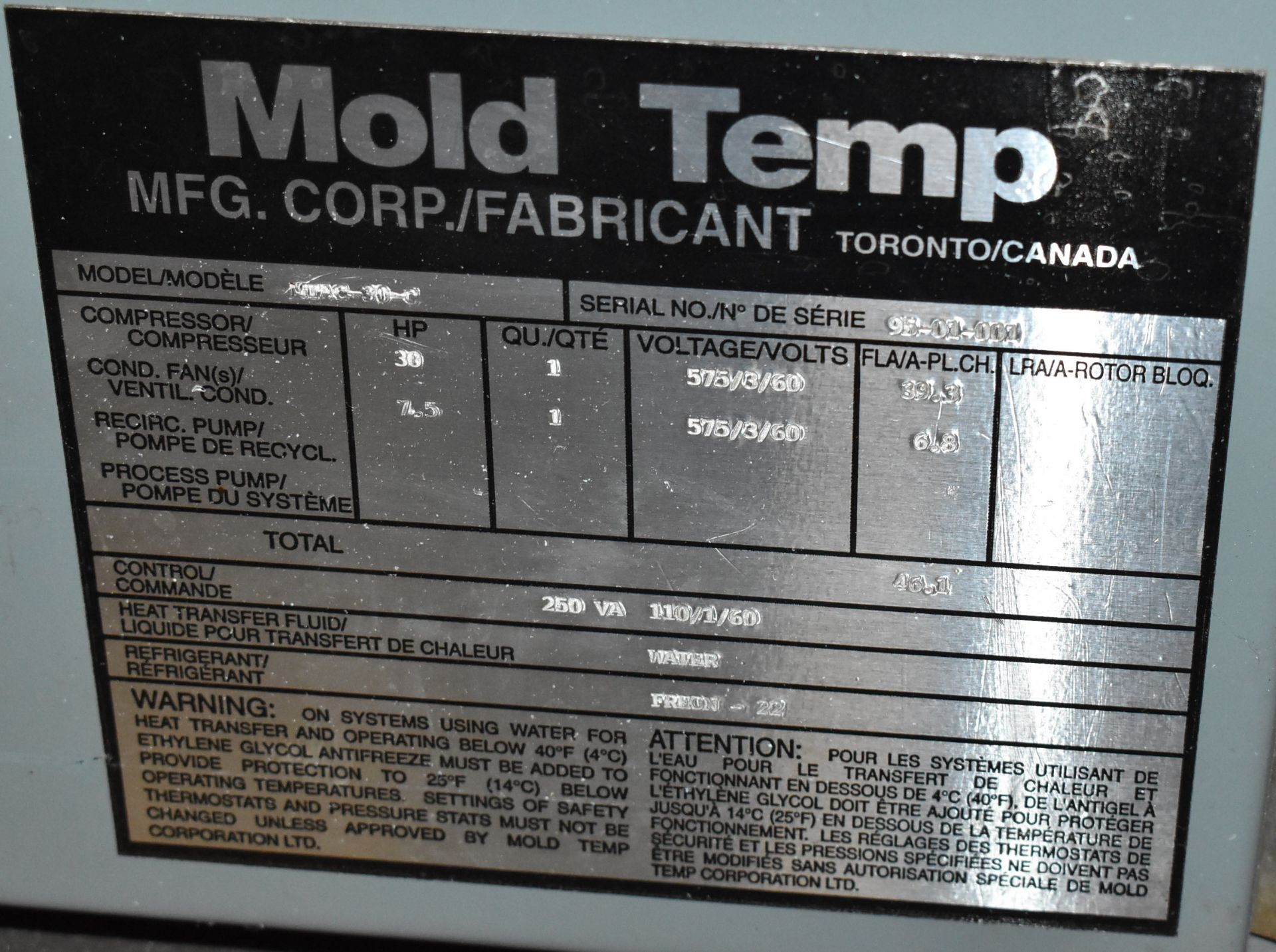 MOLD TEMP MAC-30-C 30 HP CHILLER UNIT, S/N: 05-01-001 (CI) (LOCATED IN BRAMPTON, ON) [RIGGING FEES - Image 4 of 4