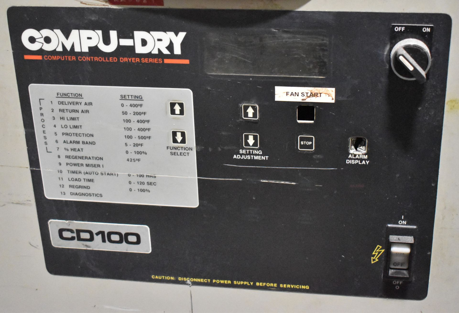 CONAIR D01H4001B10A DEHUMIDIFYING DRYER, S/N: 9D1384 (LOCATED IN BRAMPTON, ON) [RIGGING FEES FOR LOT - Image 3 of 4