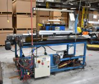 """MFG UNKNOWN UNLOADING/DOFFING STATION WITH 71""""X52"""" POWERED RUBBER BELT CONVEYOR, WORKING ARM WITH"""