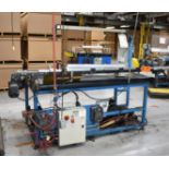 "MFG UNKNOWN UNLOADING/DOFFING STATION WITH 71""X52"" POWERED RUBBER BELT CONVEYOR, WORKING ARM WITH"