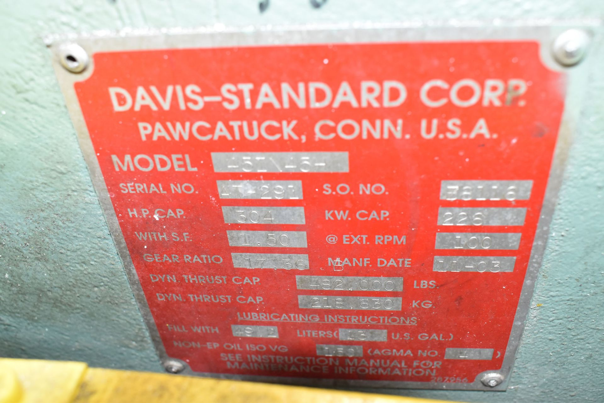 "DAVIS STANDARD (2003) 45IN45H 4.5"" CAPACITY SINGLE SCREW PLASTIC EXTRUDER WITH 304 HP RATED GEARBOX, - Image 8 of 9"