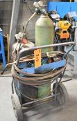LOT/ OXY-ACETYLENE TANK CADDY WITH TORCH, GAUGES & HOSE (NO TANKS)