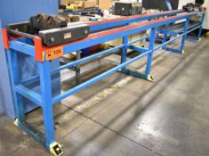 LOT/ (6) ADJUSTABLE ROLLER PIPE INFEED/OUTFEED STANDS