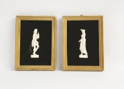 Ivory miniature figures on velvet, possibly French, lady and gentleman in nineteenth century