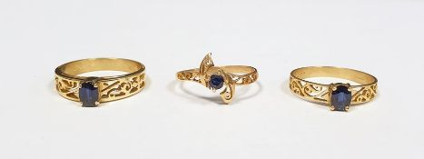 Three 9ct gold and sapphire rings, each set single stone in pierced setting (3) Condition ReportThe