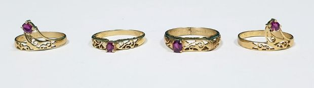 Four 9ct gold and ruby rings, each set single stone in pierced setting (4) Condition ReportThe ring