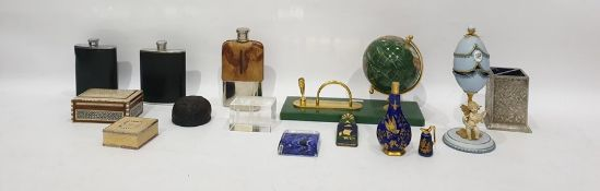 Assortment of collectables to include teaspoons, hip flasks, onyx items, paperweights, etc.