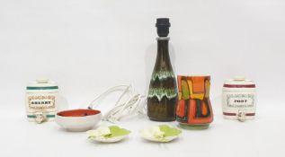Poole Delphis vase and similar small bowl, two Wade's pottery spirit barrels, pair Carltonware