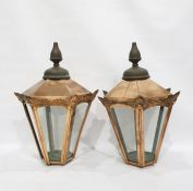 Pair of copper and glass light shades in the Victorian manner, of tapering hexagonal form