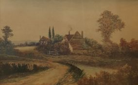 Late 19th Century Watercolours A pair of rural cottage scenes, unsigned (2)