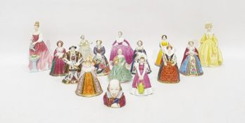 Set of seven Royal Worcester porcelainminiature figures, Henry VIII and his six wives, similar
