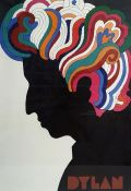 "Large Pop Art style colour print ""Dylan"" and marked ""Milton Glaser"" (designer), circa 1966 (ARR)"