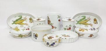 Quantity of Royal Worcester Evesham porcelain tablewareto include pair circular tureens and covers,