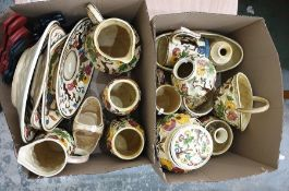 Two boxes of H J Wood Indian Tree decorated porcelainto include jugs, vases, baskets, mugs, etc