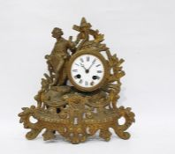 French ormolu-type mantel clockwith bell chime (damage to the enamel dial and one leg missing)