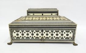 19th century Anglo Indian bone and ivory Vizagapatam workbox, intricately parquetry inlaid, the