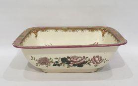 Doulton Burslem rectangular bowl, cream ground decorated with pink lotus flowers