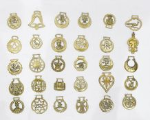 Collection of assorted horse brasses to include examples with Masonic symbol, rooster, thistle,