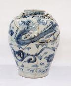 Asian porcelain vase, slightly baluster-shaped, with freely drawn decoration of underglaze blue