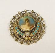 14K gold-coloured metal miniatureturquoise and pearl set pendant brooch, having central circular