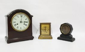Late 19th century carriage-type clockwith music box insert (badly damaged),a small octagonal