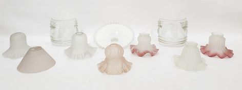 Box of assorted glass light shades to include pair of Victorian-style variegated pink, two opaque