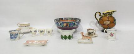 Maling lustre pottery fruit bowl, Gustavsberg Swedish pottery Bersa sauceboat, a small quantity of