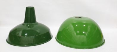 Two green enamel industrial style light shades, one by 'Real' (2)