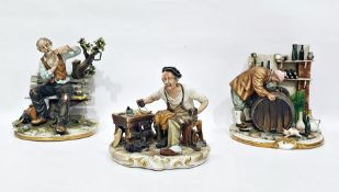 Three Capodimonte tinted bisque porcelain models, variously cobbler at workbench, tramp on a bench