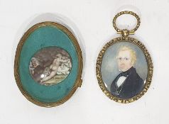 Antique enamel miniature of classical female, 3.5cm wide (within a gilt frame and glazed) and a