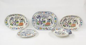 """19thcentury """"Stone China"""" earthenware part serviceviz:- five variously shaped plates and dishes,"""