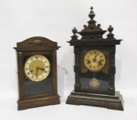 Mid 20th century German made oak-cased mantel clockwith Roman numerals and beaded decoration to the
