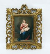 Late 19th century Berlin style porcelain plaque painted with the Madonna and Child, 26 x 20cm in