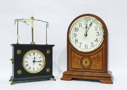 Horolovar flying pendulum clock(incomplete)and a reproduction arched-topped mantel clockin the