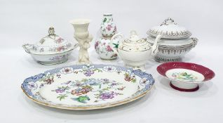 """Allertons earthenware meat dish """"Burmese"""" pattern, oval, two 19th century pottery tureens,"""