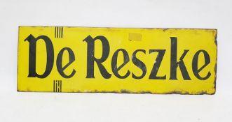 "Yellow enamel ""De Reszke"" rectangular sign, 46 x 15cm"
