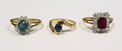 14K gold and sapphire ringand two other dress rings Condition Reportthe ring sizes are t, m, t