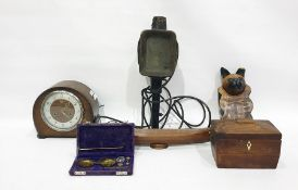 Assorted itemsto include tea caddy, model of a cat, mantel clock, boxes, etc