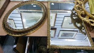 Selection of five various mirrors, two with matching frames, showing acanthus leaves and grapes, a