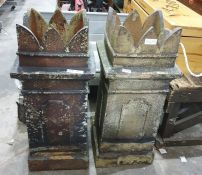 Pair terraccota coloured stone chimney pots with castellated tops