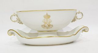 Mid 19th century Sevres porcelain oval twin-handled bowl, gilt decorated, with monogram for Napoleon