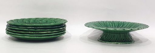 Set of six green majolica cabbage leaf decorated platesand a tazza(7)