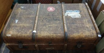 Canvas and wood banded vintage trunk, bearing label ( torn) Cunard White Star to Europe, and