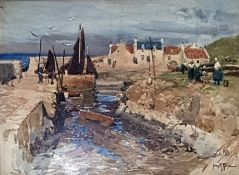John R Reid Watercolour drawing  Quayside scene, cottages in the background and women on the left,