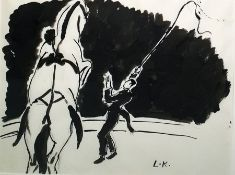 LK (possibly Laura Knight(?)) Ink on paper Circus scene with ringmaster and prancing horse,