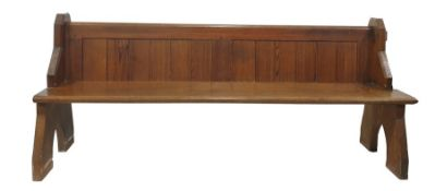 Pine pew with slatted back, end supports, approx 205cm long
